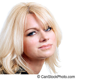 blond haired woman with blue eyes