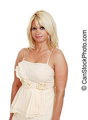 blond woman in evening dress