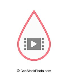 Isolated blood drop with a multimedia sign