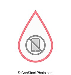 Isolated blood drop with  a phone  in a not allowed signal