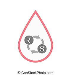 Isolated blood drop with  a rupee and dollar exchange sign
