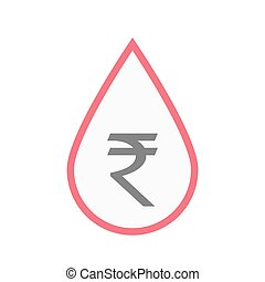 Isolated blood drop with a rupee sign