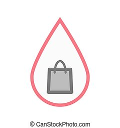 Isolated blood drop with a shopping bag