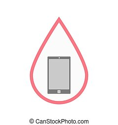 Isolated blood drop with a smart phone