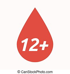 Isolated blood drop with the text 12+