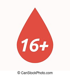 Isolated blood drop with the text 16+