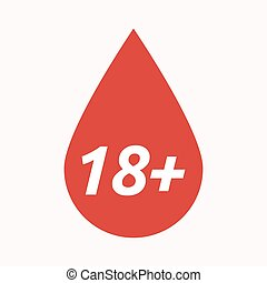 Isolated blood drop with the text 18+