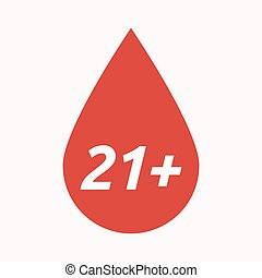 Isolated blood drop with the text 21+