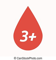Isolated blood drop with the text 3+