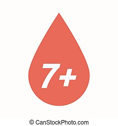 Isolated blood drop with the text 7+