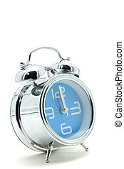 isolated blue alarm clock on white side perspective