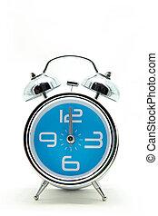 isolated blue alarm clock on white