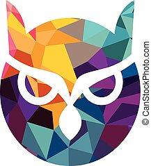 vector owl logo - Isolated blue and yellow vector owl logo ...