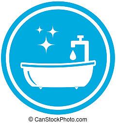 isolated blue bathroom icon - hygiene symbol