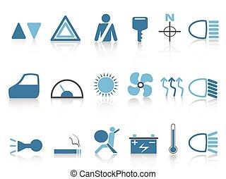 blue car dashboard icons set