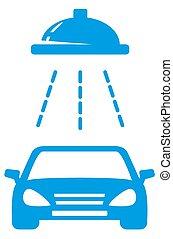 isolated blue car wash icon