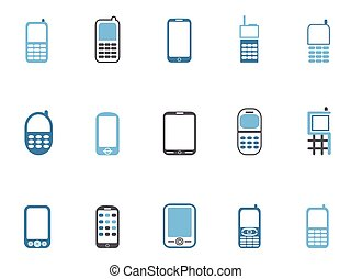 blue cell phone icons set