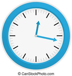 Isolated blue clock on white background with blue clock...