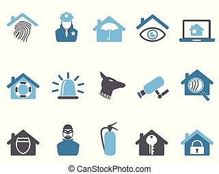 blue color home security icons set