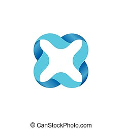 Isolated blue color outlined cross icon. Vector...