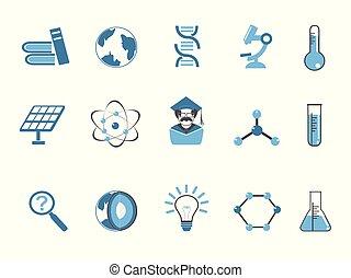 blue color science icons set