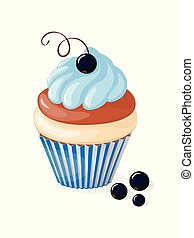 isolated blue cupcake with black currant - Realistic...