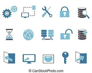blue database technology icons set