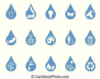 blue eco drop icons set