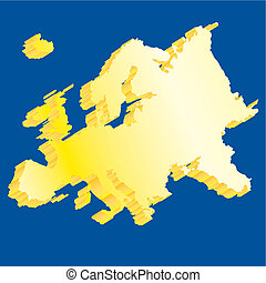Isolated blue Europe map 3d