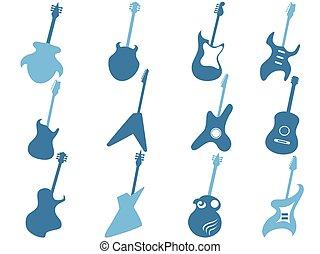 blue guitar icons set