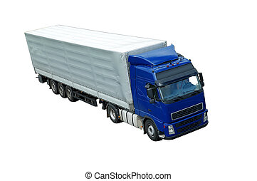 isolated blue lorry with grey trailer (upper view)