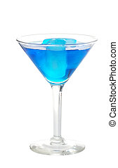 Blue martini with ice