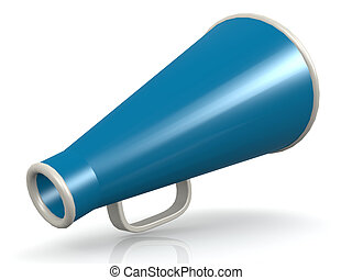 Isolated blue megaphone on white