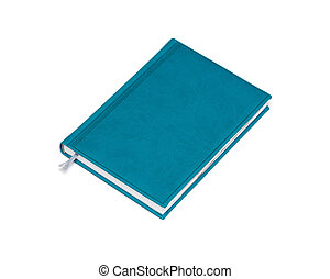 isolated blue notebook on white