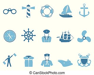 blue sailing icons set