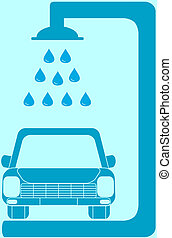 isolated blue sign car wash
