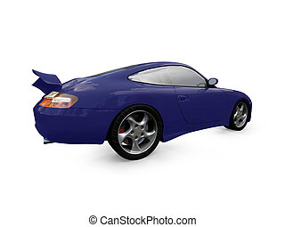 isolated blue super car back view