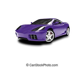 isolated blue super car front view 01 - blue super car on a ...
