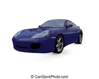 isolated blue super car front view 01 - isolated blue ...