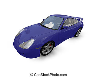 isolated blue super car front view 03 - isolated blue ...