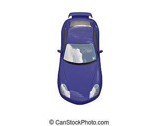 isolated blue super car top view - isolated blue supercar on...