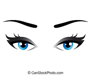 isolated blue woman eyes with eyelashes on white background