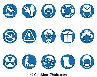 blue work safety round button icons set