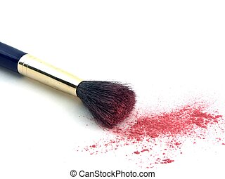 brush and powder - isolated blush brush and powder
