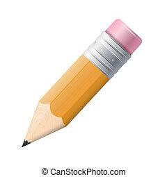 isolated., blyertspenna, vit, teckning, bakgrund.