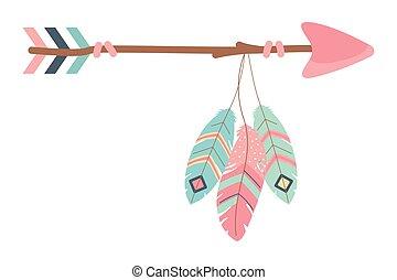 Boho arrow design, Bohemic decoration vintage fashion abstract art and ornament theme Vector illustration