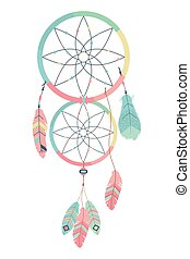 Boho dream catcher design, Bohemic decoration vintage fashion abstract art and ornament theme Vector illustration