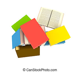 isolated books on white background