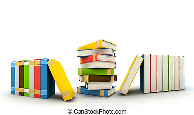 isolated books on white background