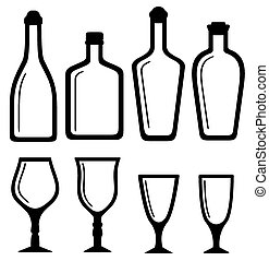 isolated bottles and alcohol glass